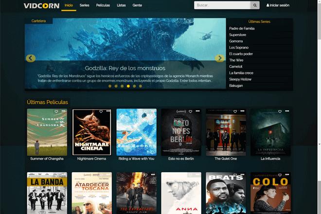 Vidcorn es otra alternativa a Plusdede, en donde encontrarás series y películas para ver online o descargar gratis