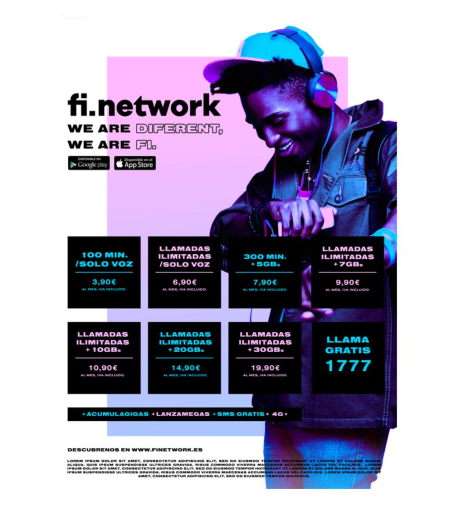 Tarifas FiNetwork con llamadas ilimitadas y datos que se acumulan mes a mes