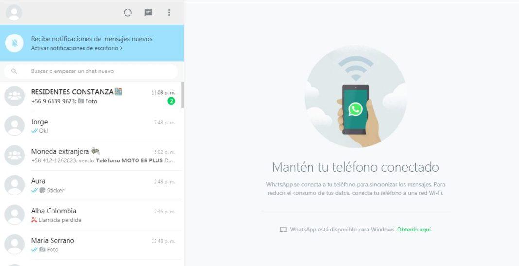 Pantallazao de inicio de sesión en whatsapp web