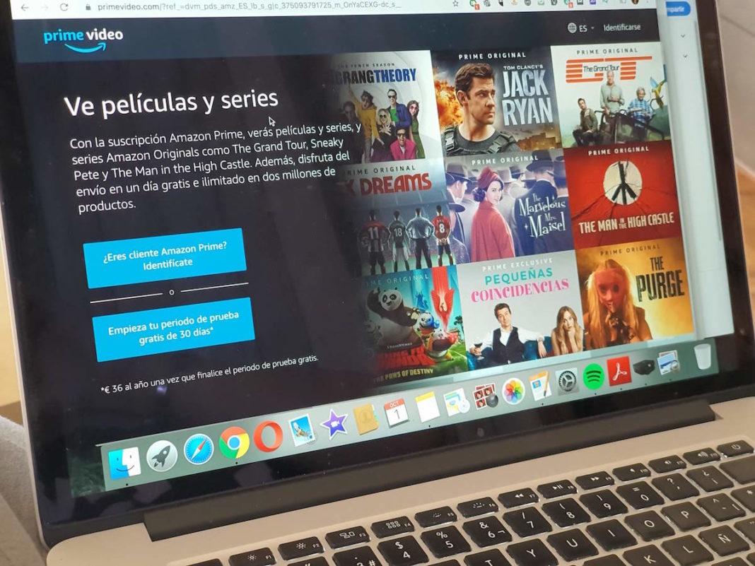 Página de inicio de Amazon Prime Video en un ordenador MAC