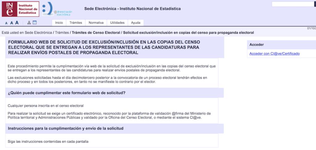 Web del INE para pedir que no llegue a casa publicidad electoral
