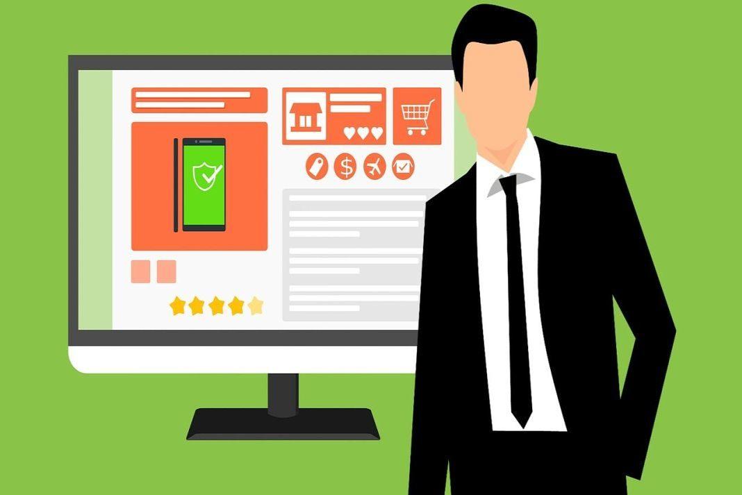 Ilustración de un hombre y una pantalla de un computador