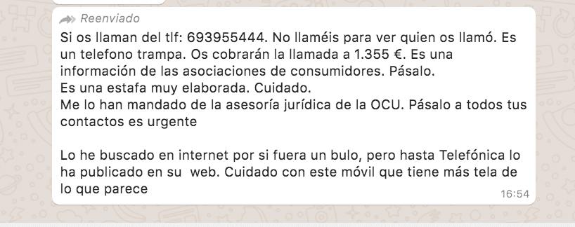 693955444 el numero que supuestamente te estafa 1500 euros al llamar