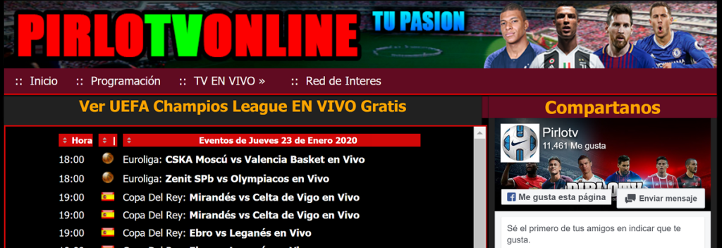 Página web PirloTV