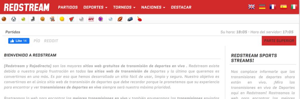 Redstream tiene muchos deportes online