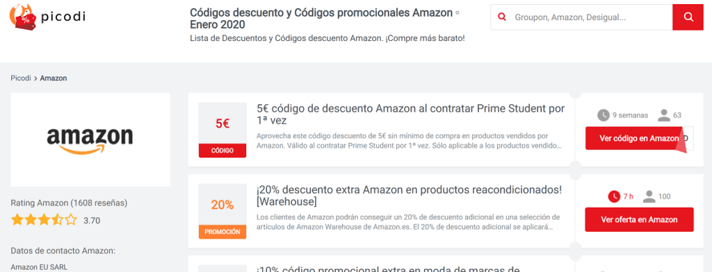 Codigos descuento para Amazon