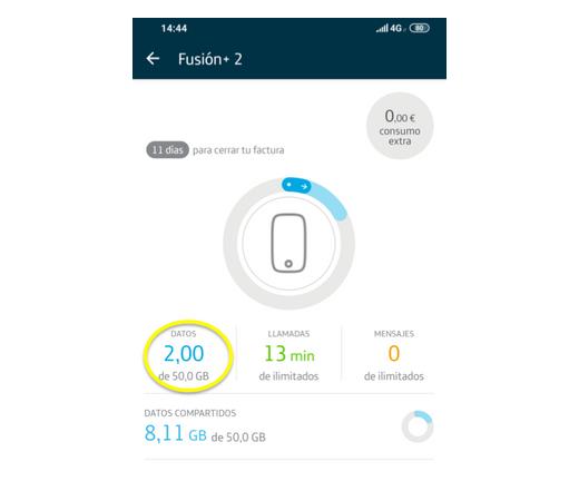 App Mi Movistar para consultar datos disponibles