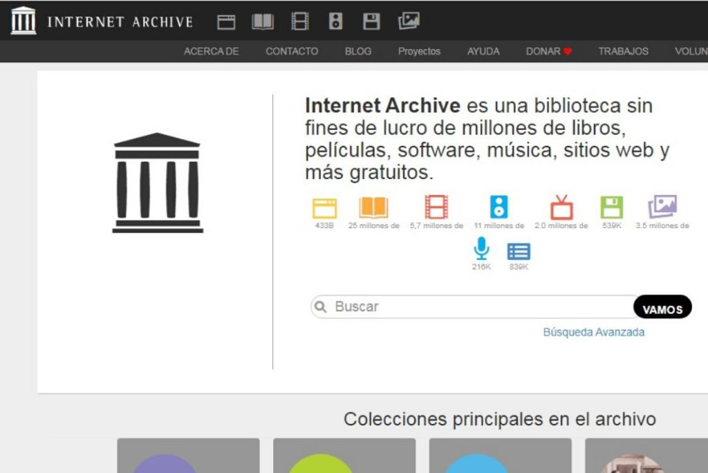 Pantallazo de la pagina web de Internet Archive