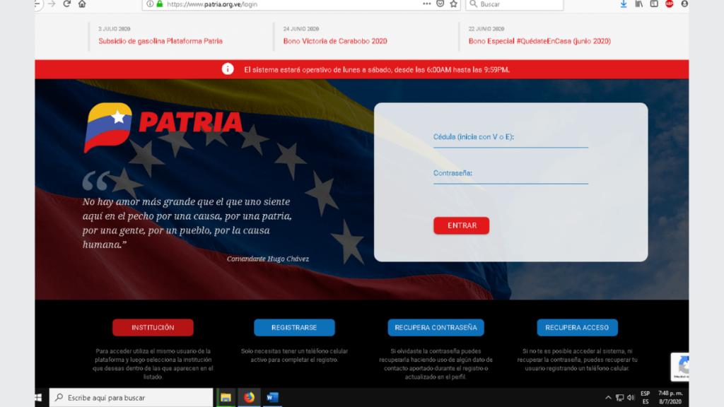 Plataforma Patria, sistema creado por el gobierno de Venezuela.