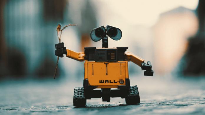 robot con una flor en la mano